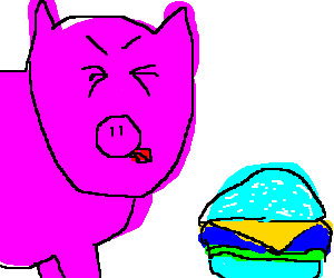 Pig is disgusted by a blue cheeseburger