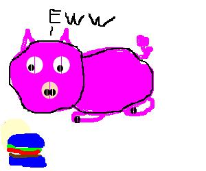 pig dislike blue burgers