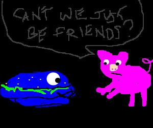 Awkwardness between blue cyclops burger and pig