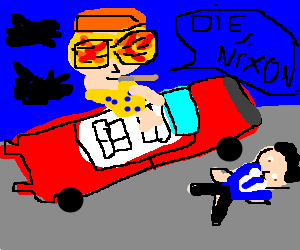 Hunter S. Thompson runs Nixon over with car