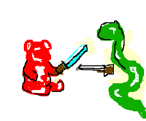 Gummy Bear and Jelly Snake duel with swords