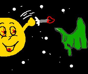 Sun throwing love heart arrows to a dragon
