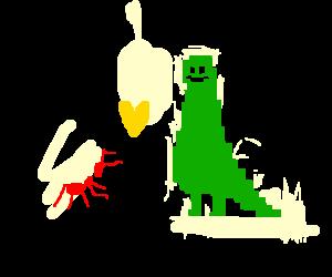 Pixelated dinosaur befriending a warrior ant