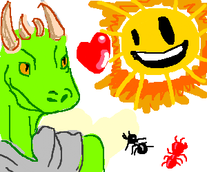 lizzard guy heart sun ant ant
