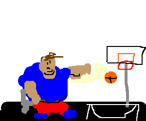 Fatty guy playing basketball while sitting