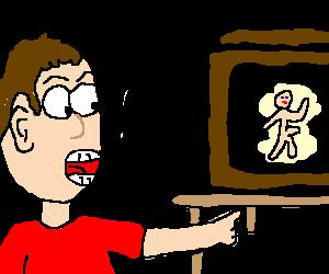 """Man shouts """"no!!"""" at naked guy on television."""