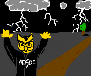 Yellow owl ACDC wizard casts lightning