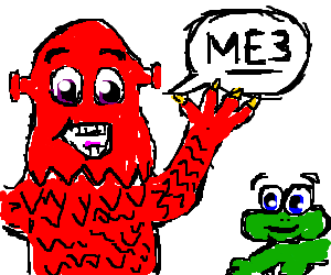 A Red Monster talks to green frog about ME3.