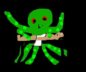 Asian man gets a massage by Octopus Man