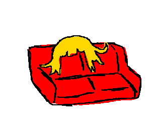 Red couch with lovely blonde wig.