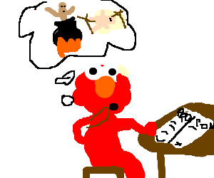 Elmo contemplates pros and cons of cannibalism - Drawception