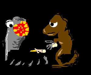 Giant lamprey watches while t-rex eats a woman