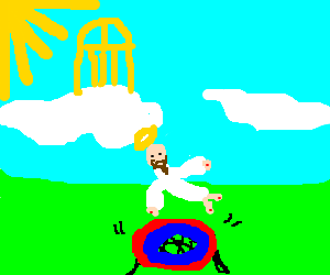 jesus utilizes trampoline in ascent to heaven