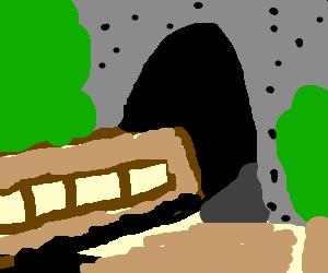 train going through a tunnel