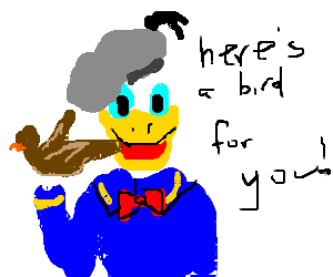 Donald Duck in a grey beret giving you the bird