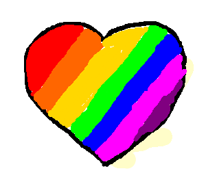 a raimbow contained in a heart