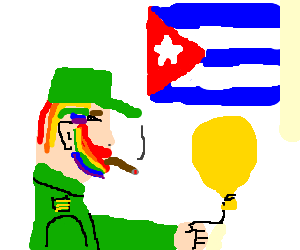 Fidel castro with rainbow hair & yellow balloon