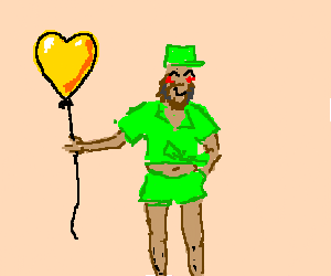Gay friendly Fidel Castro hold a yellow balloon
