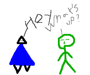 blue triangle man talking to green asian guy