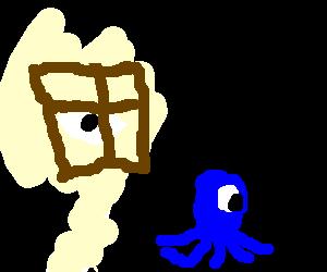 Eye spying on blue cyclops octopus