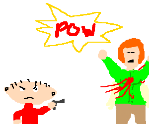 Stewie Griffin shoots Lois in the chest