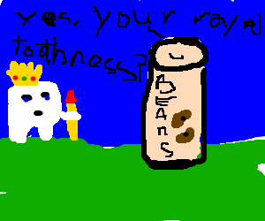 Tooth King reigns over a can of beans