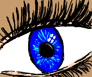 Close-up of a human eye, with an oval iris
