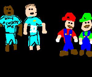 Balotelli and Tevez meet Mario and Luigi