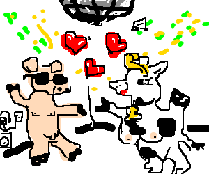 A pig and a cow falling in love at a rave
