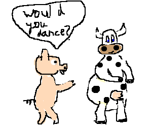 pig invites a cow to dance
