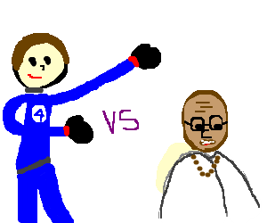 Mr. Fantastic (I think) fights gandhi?