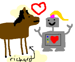 a girl-robot finds love w/ a horse named Richard