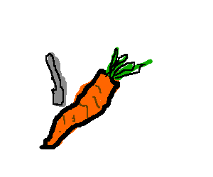 Man tries to cut a carrot with a spoon