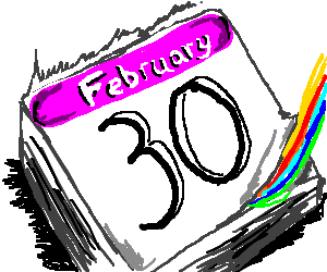The night of Feb 30, rainbow carries calendar