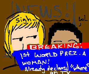 News report bout 1st pres of word & its a female
