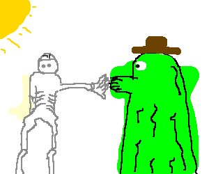 Skeleton and Green alien arm wrestle below cloud