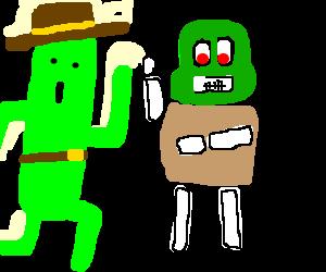 Cowboy Cactaur High-Fives Zombie