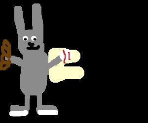 Bugs Bunny is playing baseball