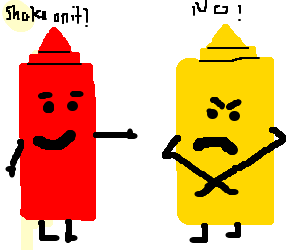 Angry mustard doesn't want to shake hands.