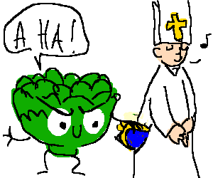 A head of lettuce robs the pope