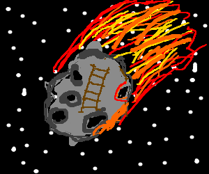There is a ladder on an asteroid.