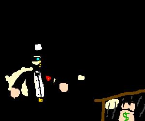 genteel bank robber loses a money bag