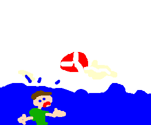 God taunts drowning man with life preserver.