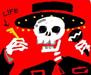 Mariachi Skeleton finds the Key to Life