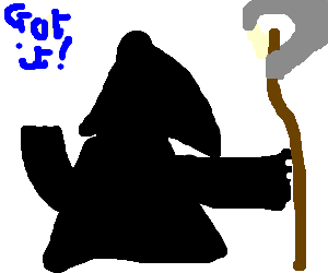 Grim Reaper learns how to hold a scythe