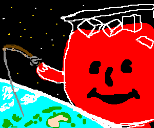 Astronomical Kool-Aid Man Fishes Earth's Oceans