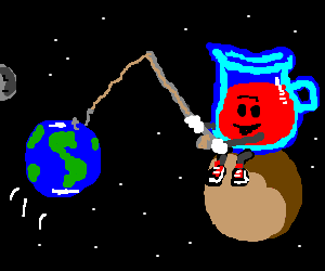 Massive Kool Aid Man fishes earth from low orbit