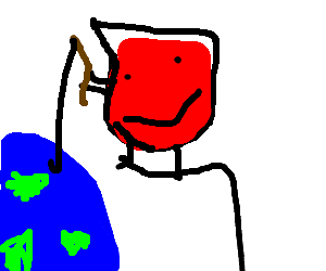 Kool-Aid man fishes in earth's ocean from space