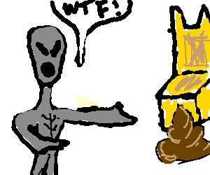 Surprised alien finds  a crap near space throne!