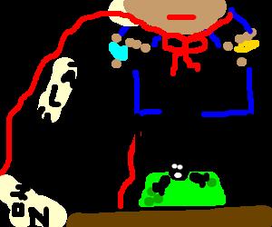 Salutation-man prepares toxic death potion